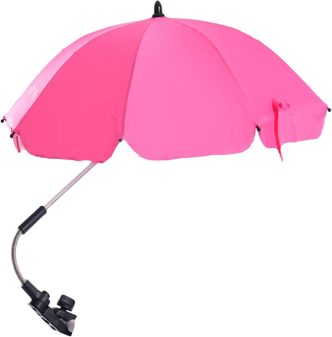Pink Baby Stroller Wheelchair Umbrella,Wheelchair Pushchair Baby Stroller Umbrella and Holder Parasol UV Rays Rain Sun Canopy