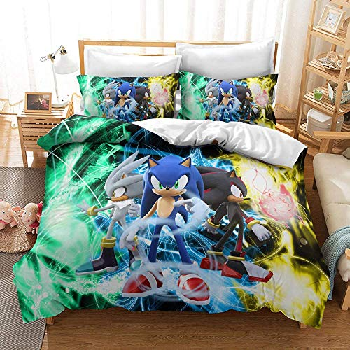 Sonic The Hedgehog Twin Bedding Sets for Kids Boys 3D Cartoon Printed Soft Microfiber Duvet Cover Set,1 Duvet Cover with 1 Pillowcases