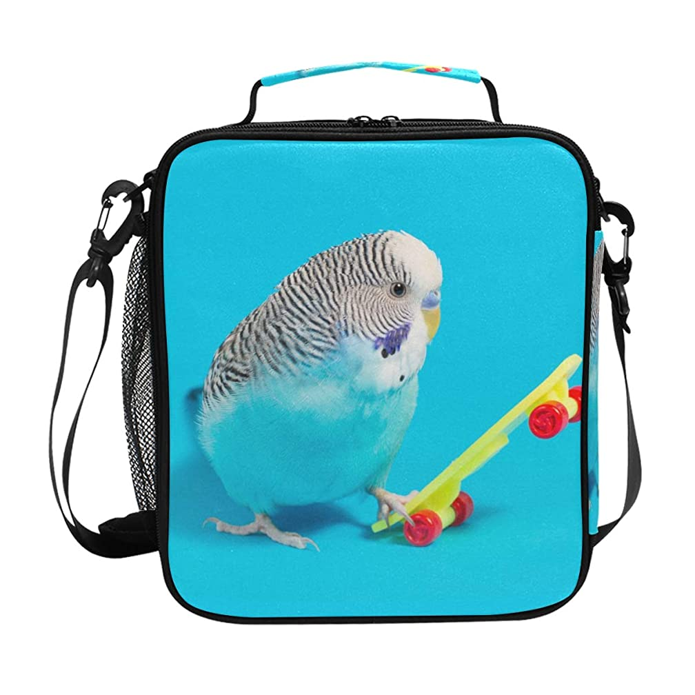 Animal Budgie Bird Blue Lunch Bag Insulated Lunch Box Cooler Shoulder Strap Meal Prep for Women Men Boy Girl Large Tote Bag School Office