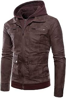 iLUGU Faux Leather Jacket Men Faux Leather Jacket Autumn&Winter Biker Mens Ski Jackets Motorcycle Zipper Outwear Hoodie Coat