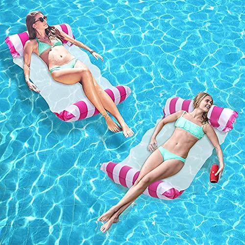 Sunshine smile 2 hamacas hinchables, colchoneta de agua hinchable, cama flotante, hamaca de agua, piscina, colchón de aire, cama para piscina con red
