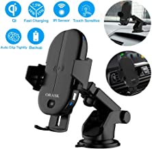 ORASK Qi Certified Fast Charging Mount Car Wireless Charger Mount Adjustable Windshield Dashboard Air Vent Phone Holder 7.5W 10W 15W for iPhone Samsung Nexus Moto OnePlus HTC Sony Nokia