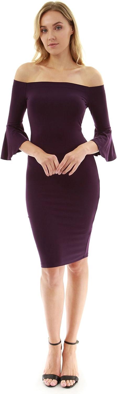 PattyBoutik Women's Off Shoulder Elbow Bell Sleeve Dress