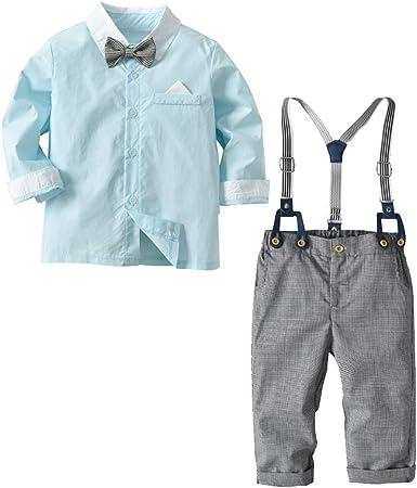 Camisa de Manga Larga con Pajarita + pantalón de Liga para bebés y niños pequeños, Trajes de Traje de Mono de Color de Primavera y Contraste en Color ...