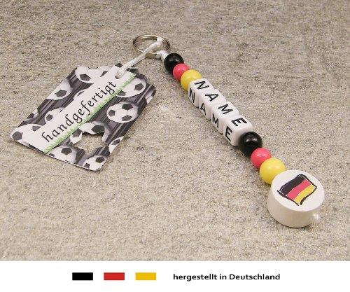 Naamhanger - hanger met naam - baby kinderen sleutelhanger voor wikkeltas, kleuterschooltas, schooltas of rugzak met sleutelring - motief voetbal vlag Duitsland - zwart, rood, goud