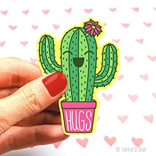 Hugs Sticker, Cactus Decal, Prickly Pear, Saguaro, Anniversary Gift, Cute Gift for Boyfriend, Cactus Art