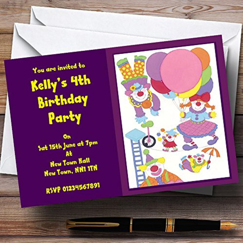 popular púrpuraa payasos lindo de los nios invitaciones de fiesta personalizado personalizado personalizado  salida de fábrica