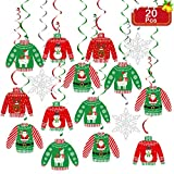 Ugly Christmas Sweater Hanging Swirl Decorations 20 Pieces Christmas Sweater Party Hanging Ceiling Decor for Christmas Party Decorations Winter Holiday Xmas Party Favor Decor Supplies