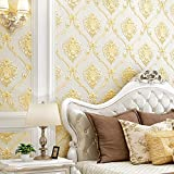 European Simple Style 3D Damask Pattern PVC Wallpaper Waterproof Bedroom Living Room TV Background Wall Clothing Store Beauty Salon 20.87'Wx393.7'L Non-Pasted (Beige)