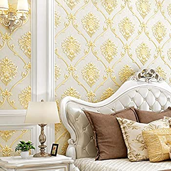 European Simple Style 3D Damask Pattern PVC Wallpaper Waterproof Bedroom Living Room TV Background Wall Clothing Store Beauty Salon 20.87 Wx393.7 L Non-Pasted  Beige
