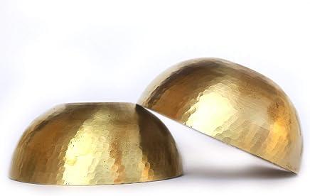 GT Gloptook Brass Hand Hammered Round Mixing Bowls Set of 2 Serving Bowl