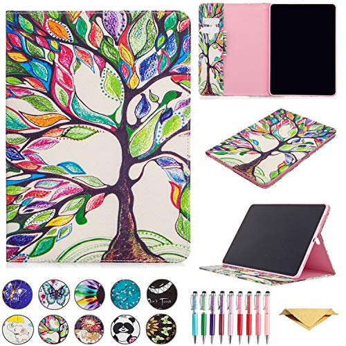 QYiD Galaxy Tab S3 9.7 Case, T820 Case, PU Leather Cartoon Folio Stand Wallet Case Protective with Card Holder & Stylus for Samsung Galaxy Tab S3 9.7 inch (SM-T820/T825/T827), Life Tree