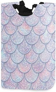 CaTaKu Rainbow Mermaid Panier à linge Boîte de rangement étanche facile à transporter pour dortoir familial, buanderie, 32...