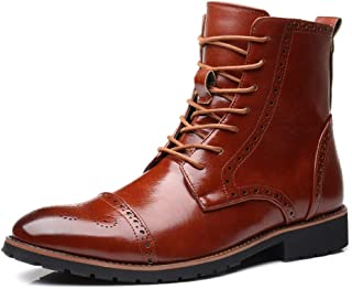 CHENDX Shoes, Men's Upscale Classic Carving Brogue Boots Riding Boot High Top Wear-Resisting Lace up PU Leather Wingtip Burnished Style Stitch (Color : Black, Size : 45 EU)