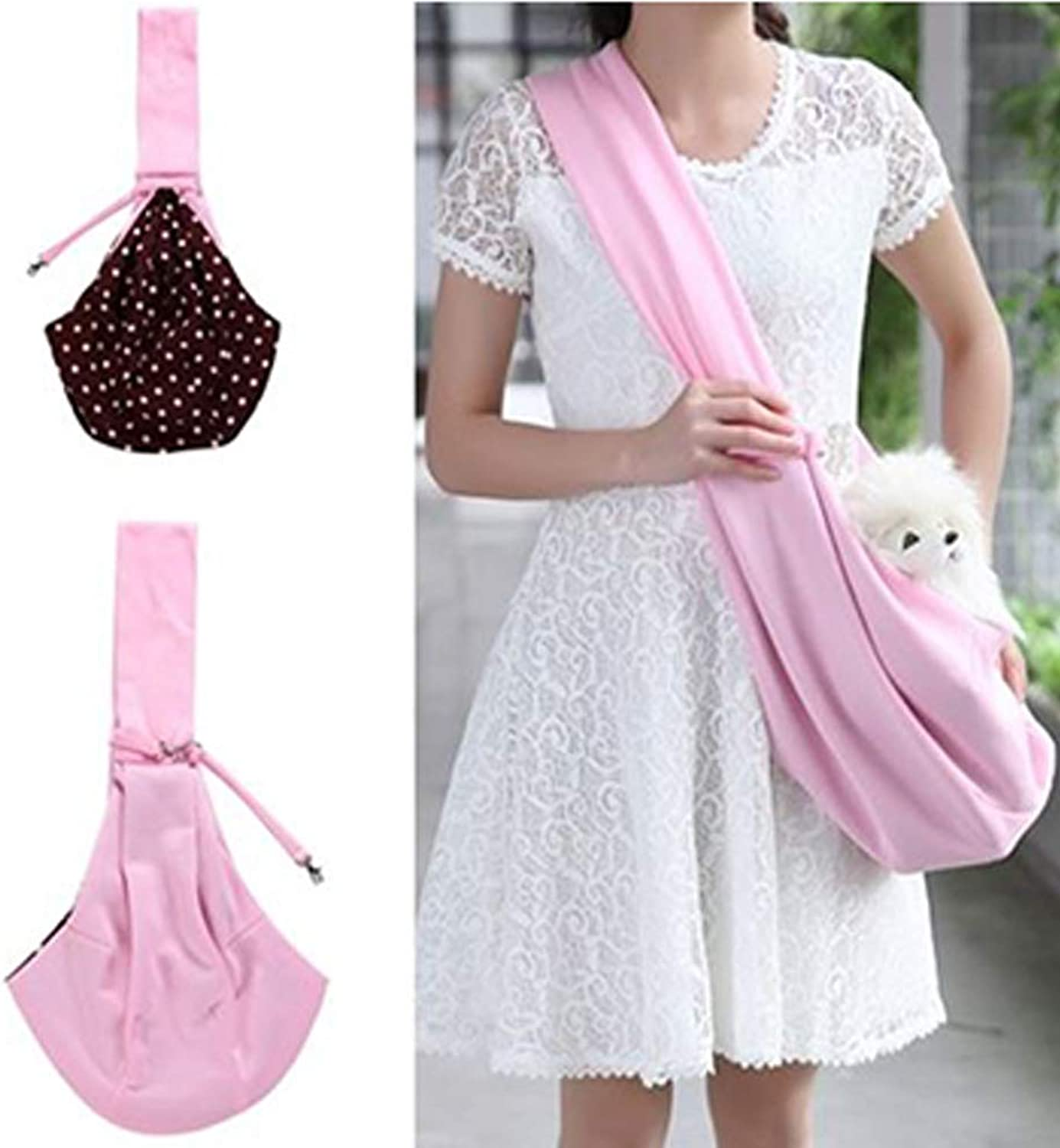 HWX Reversible Pet Sling Carrier Handsfree Sling Pet Dog Cat Carrier Bag Soft Comfortable Puppy Kitty Rabbit Doublesided Pouch Shoulder Carry Tote Handbag,Pink,M