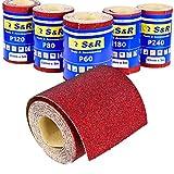 S&R 5 Rollos de Papel de lija para Madera Metal Pared de 93 mm x 5 m grano 60/80/120/180/240