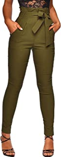 Women's All Occasions Paper Bag Waist Pants Trousers with Tie Pockets
