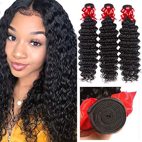 Brazilian Virgin Hair Deep Wave Bundles (12 14 16) Human Hair Bundles 100% Unprocessed Virgin Human Hair Extension Deep Curly Hair Natural Color