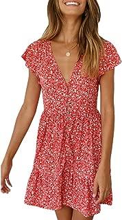 Womens Floral Print Mini Dress V Neck Short Sleeve Boho Swing Dresses