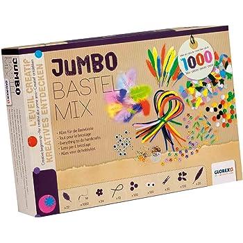 GLOREX 6 1214 072 - Jumbo Bastel Mix, über 1000 Teile, umfangreiches Bastelset mit Federn, Pompons, Pfeiffenputzer, Wackelaugen, Wäscheklammern und vielem mehr, ideal für das Basteln mit Kindern
