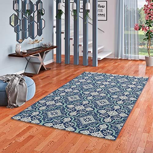 In & Outdoor Teppich Flachgewebe Carpetto Fliesenoptik Blau in 4 Größen