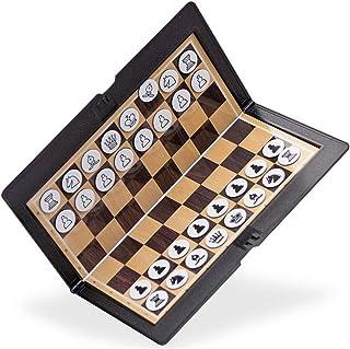 FADDARE Jeu d'échecs de voyage Magnetic Chessman pliable Pocket Chess Wallet Set de jeu de société Super fin pour les acti...