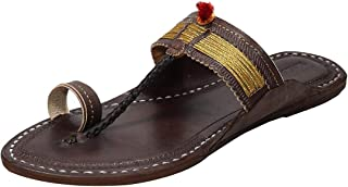 KALAPURI Ladies Comfortable Kolhapuri Chappal in Export Quality Genuine Leather with Coffee Brown Pointed Shape Base and T...