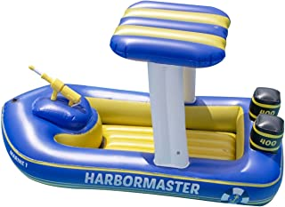 """Swimline Patrol Boat Squirter Inflatable Pool Toy, Blue, White, Yellow, 67"""" x 36"""" x 36"""""""