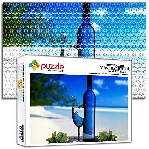 Generichaoge 1000 Piezas Puzzle Adultos para Adultos Educa Obra De Arte Juego Familiar Puzzle Fantasía Junto Al Mar Copa De Vino Botella De Vino 29.52 X 19.68 Pulgada