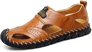 Sumuzhe Stylish and comfortable Men's Fashion Sandal Casual Anti-collision Round Toe Hand Sewing Flexible Outdoor Water Shoes Summer must (Color : Golden yellow, Size : 47 EU)