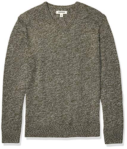 Amazon Brand - Goodthreads Men's Supersoft Marled V-Neck Sweater, Olive X-Large