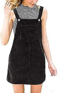 Dress for Womens, Women Corduroy Straight Suspender Mini Bib Overall Pinafore Casual Pocket Dress Apron