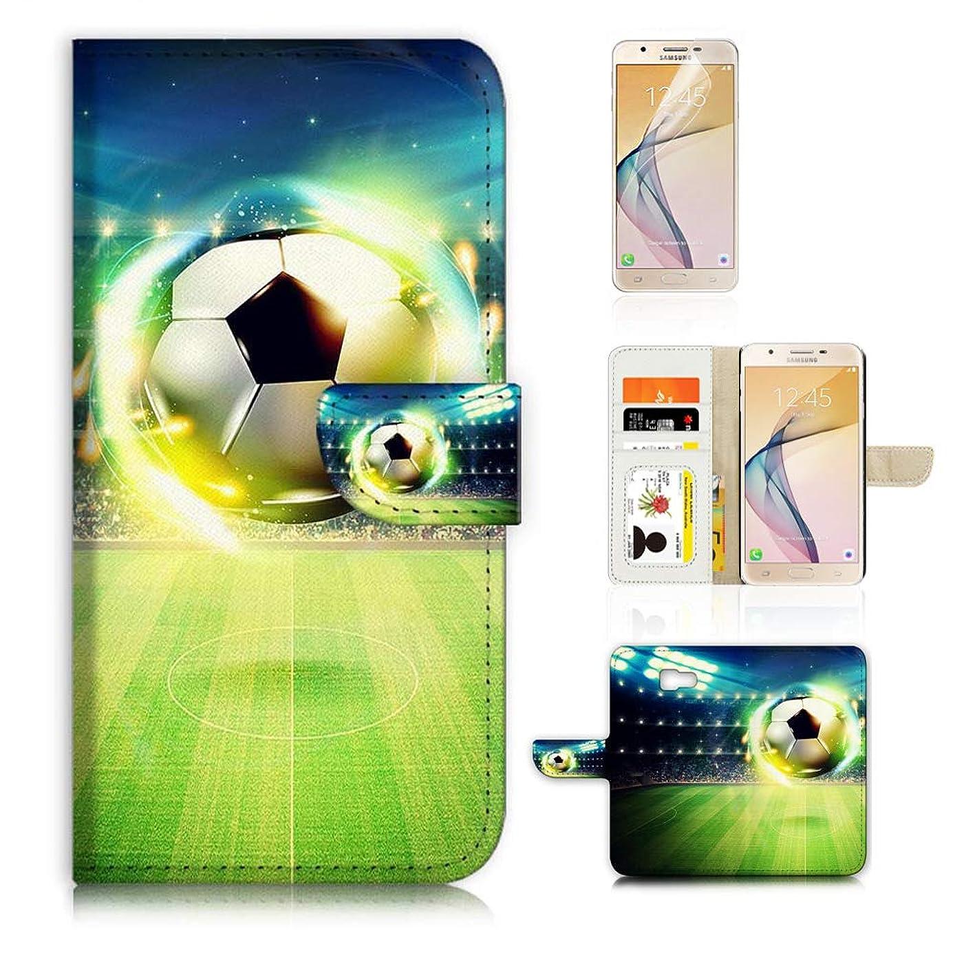 (for Samsung J7 Prime / J7 V / J7 Perx / J7 2017 / J7 Sky Pro/Galaxy Halo) Flip Wallet Case Cover & Screen Protector Bundle - A21678 Soccer Football