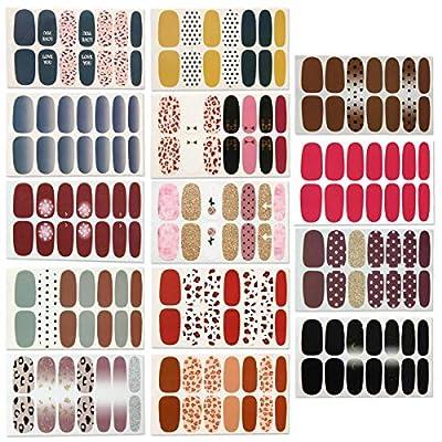 14 Sheets Full Wraps Nail Polish Stickers,Self-Adhesive Nail Art Decals Strips Manicure Kits Nail Art Designs