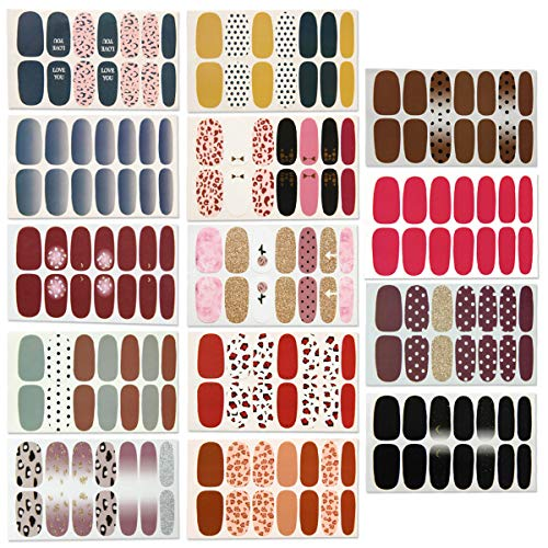 14 Sheets Full Wraps Nail Polish Stickers,Self-Adhesive Nail Art Decals Strips Manicure Kits Nail Art Designs
