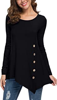 Women's Long Sleeve Scoop Neck Button Side Tunic Tops Blouse