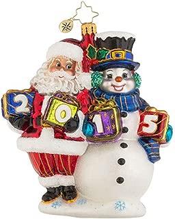 Christopher Radko 2015 Yearly Pals Santa/Snowman Glass Christmas Ornament - 5.5