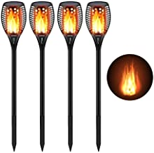 CINOTON Solar Torch Light with Flickering Flame, Solar Path Torch Light Dancing Flame 96 LED Waterproof Dusk to Dawn Solar Garden Lights Outdoor Landscape Decorations, 4 Pack
