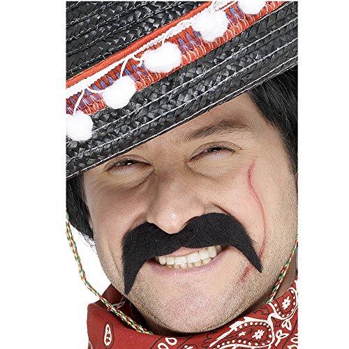 Smiffy'S 11911 Bigote De Bandido Mexicano, Autoadhesivo, Negro, Tamao nico