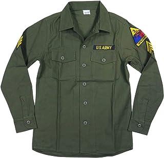 [ヒューストン] HOUSTON U.S.ARMY 長袖 ワッペン付 コットン ミリタリーシャツ OG-107 40656