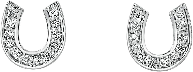 1/10 to 1/3 Carat Diamond Lucky Horseshoe Stud Earrings in 10k Gold (J-L, I1-I2, cttw) Push Back by Diamond Wish