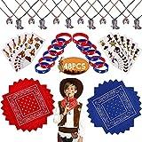 West Cowboy Party Favors - Collar de botas de herradura, tatuajes temporales, pulseras de Paisley, pañuelo de Paisley para niños cumpleaños bolsa de relleno juguetes regalo para niños niñas