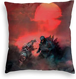 Ultra Warm Velvet Throw Pillow Covers Allergy Proof, Shin Godzilla Vs Mechagodzilla Red Sunset King of The Monsters, Perfect Zippered Cushion Covers for Home Christmas Party 20x20 Inch