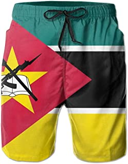 WXSM Flag of Mozambique Quick Dry Lace Boardshort Beach Shorts Pants Swim Trunks Weird Boys Swimsuit with Pockets