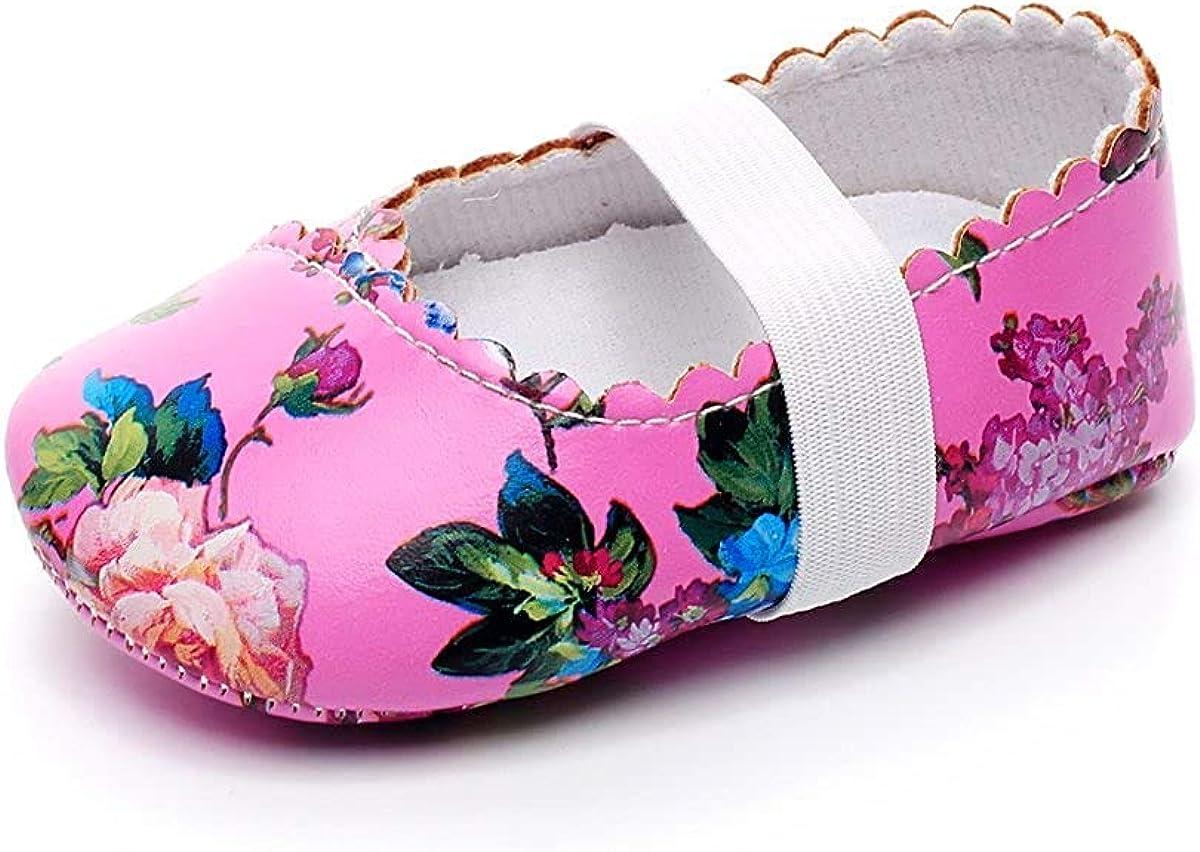 HONGTEYA Print Flower Baby Girls Ballet Princess Dress Shoes Mary Jane Toddler Shoes Flats Baby Sandals