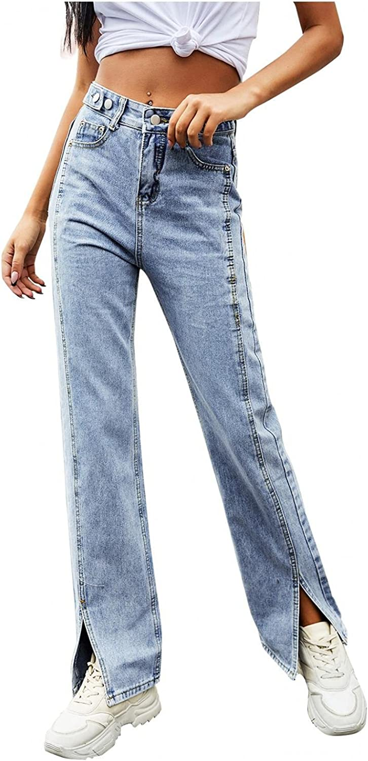 Jeans for Women High Waisted Stretch Slim Fit Straight Jeans Classic Fit Baggy Wide Leg Denim Pants Trousers Streetwear