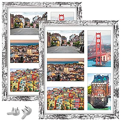 VMUZEDER 11X14 Picture Frames Wood Rustic Patten Distressed White Set of 2 Packs, with High Definition Glass Collage Display 11x14 Without Mat or Five 4x6 Photos with Mat for Table Top and Wall