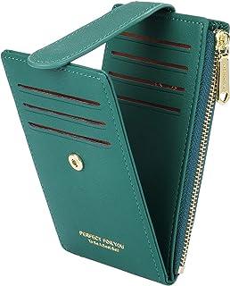 CYANB RFID Card Holder Wallet for Women Slim Bifold Zipper Card Cases Money Organizers Green