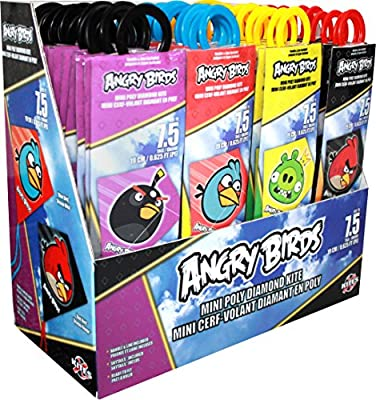 "X-Kites MicroDiamond Angry Birds Assortment of PolySail Mini Kites 7-3/4"" Tall, 48-Piece PDQ"