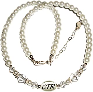 Sterling Silver Child's CTR Necklace for Girls Simulated Pearls and Crystals (5-12 years)